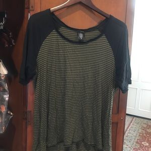 Torrid olive/black stripe t-shirt -sheer sleeves